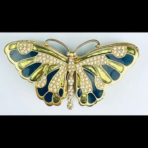 Kenneth Jay Lane Butterfly Pin and Box Thailand